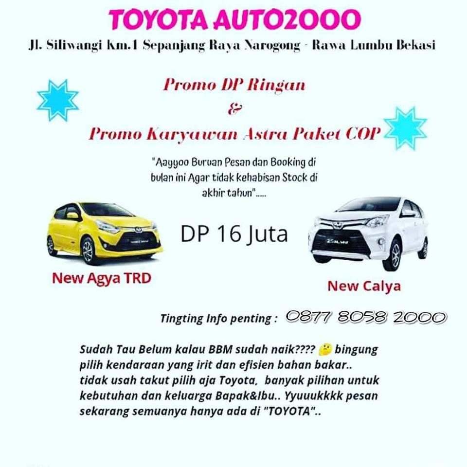 Kredit Toyota Di Cibitung Dealer Bekasi Booking Fee New Agya Trd A T Giias 2018 Promo